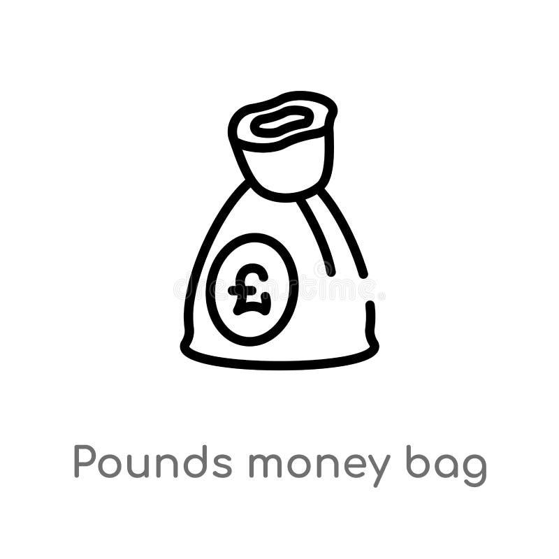 Entwurfspfundgeldtaschen-Vektorikone lokalisiertes schwarzes einfaches Linienelementillustration vom Geschäftskonzept Editable Ve stock abbildung