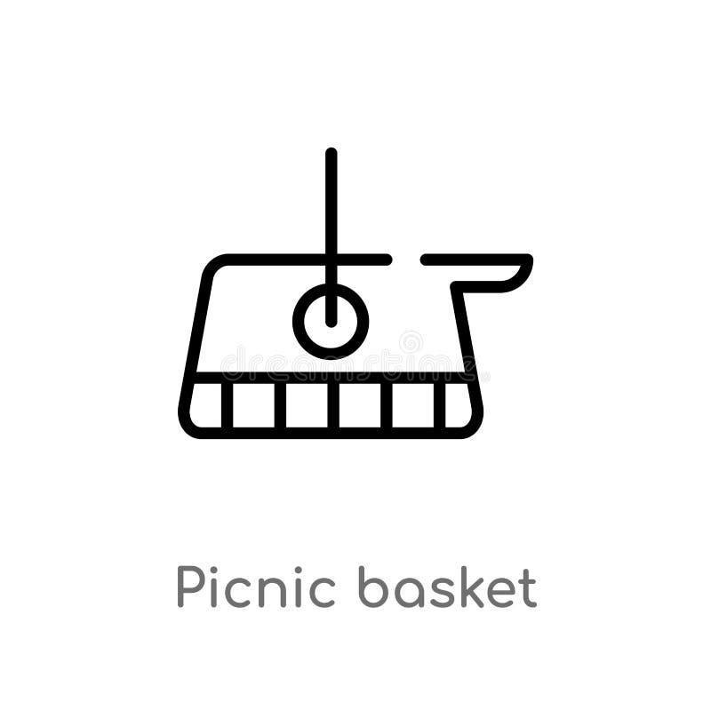 Entwurfspicknickkorb-Vektorikone lokalisiertes schwarzes einfaches Linienelementillustration vom Herbstkonzept Editable Vektorans stock abbildung