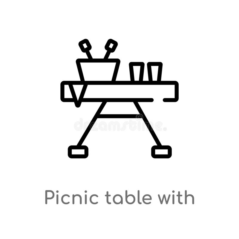 Entwurfspicknicktisch mit Korbvektorikone lokalisiertes schwarzes einfaches Linienelementillustration vom allgemeinen Konzept edi stock abbildung