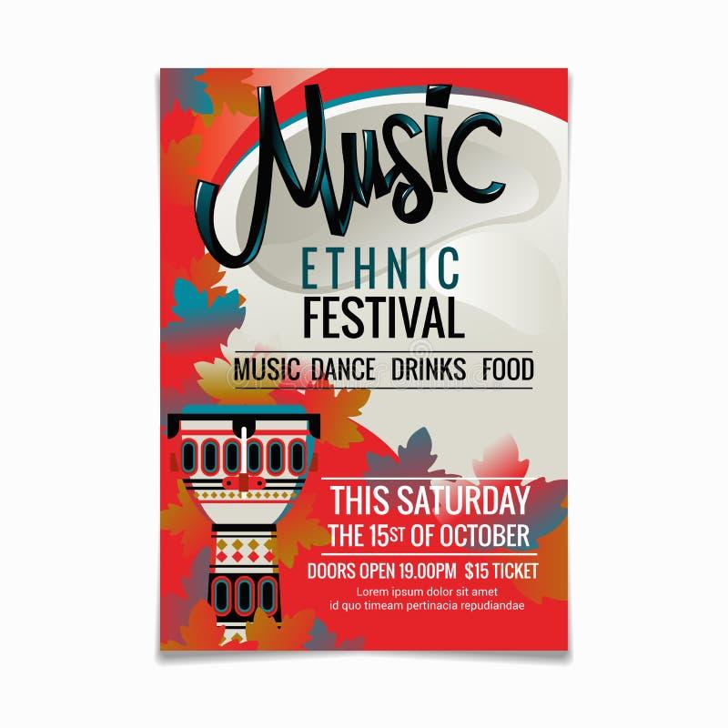 Entwurfsschablone des Volksmusikfestivals oder des Plakats der ethnischen Musik nationalen oder ethnischen Musikinstrumente afrik stock abbildung