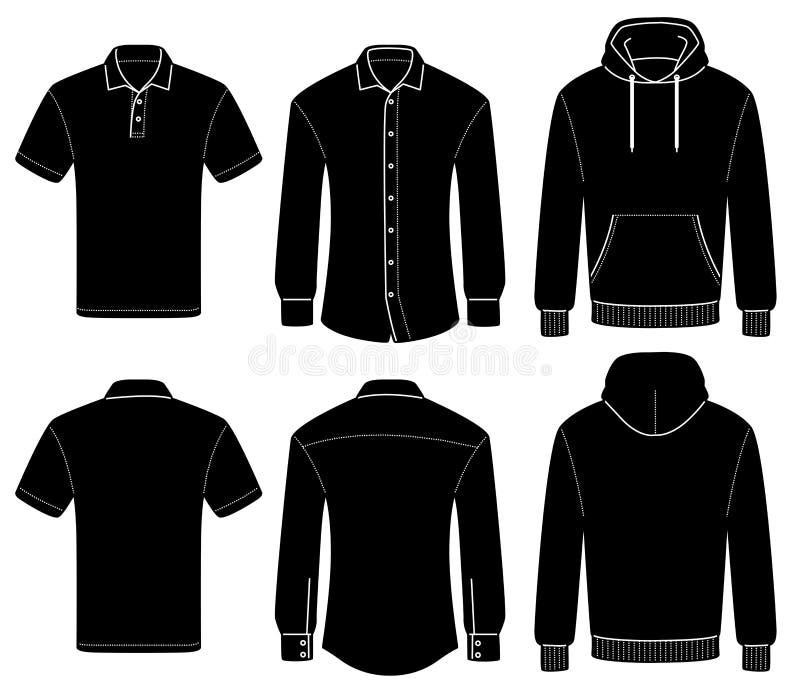 Entwurfsschablonenpolo, -hemd und -Kapuzenpulli vektor abbildung