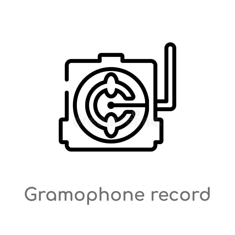 EntwurfsSchallplatten-Vektorikone lokalisiertes schwarzes einfaches Linienelementillustration vom Musikkonzept Editable Vektorans lizenzfreie abbildung