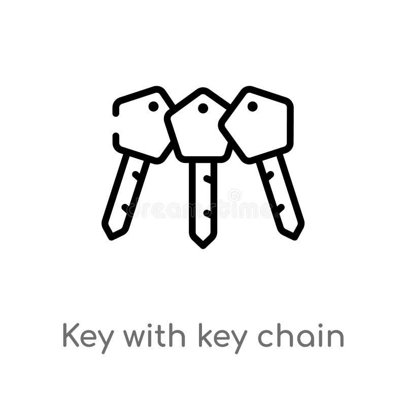 Entwurfsschlüssel mit Schlüsselanhängervektorikone lokalisiertes schwarzes einfaches Linienelementillustration vom Flughafenabfer vektor abbildung