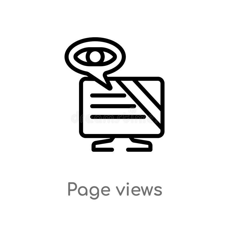 Entwurfsseite sieht Vektorikone an lokalisiertes schwarzes einfaches Linienelementillustration vom gro?en Datenkonzept editable V lizenzfreie abbildung