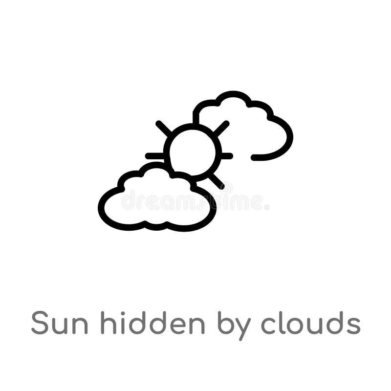 Entwurfssonne versteckt durch Wolkenvektorikone lokalisiertes schwarzes einfaches Linienelementillustration vom Wetterkonzept Edi vektor abbildung