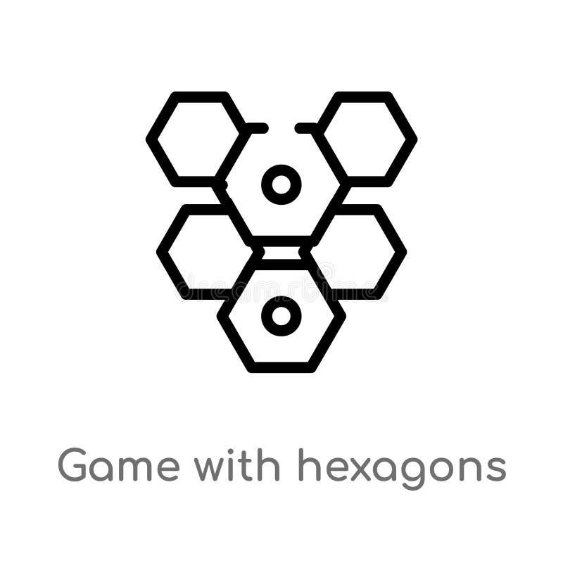 Entwurfsspiel mit Hexagonvektorikone lokalisiertes schwarzes einfaches Linienelementillustration vom Unterhaltungskonzept editabl lizenzfreie abbildung
