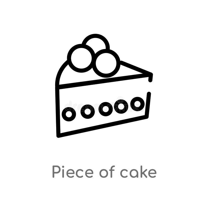 Entwurfsstück der Kuchenvektorikone lokalisiertes schwarzes einfaches Linienelementillustration vom Danksagungskonzept Editable V vektor abbildung