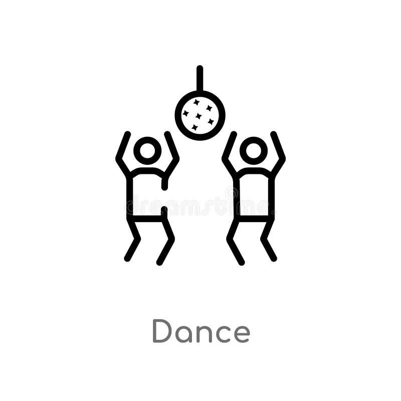Entwurfstanz-Vektorikone lokalisiertes schwarzes einfaches Linienelementillustration von der Unterhaltung und vom S?ulengangkonze lizenzfreie abbildung