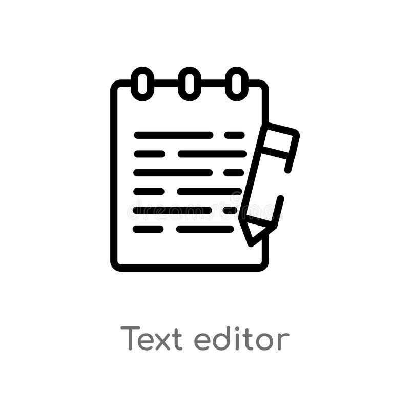 Entwurfstexteditor-Vektorikone lokalisiertes schwarzes einfaches Linienelementillustration vom Technologiekonzept Editable Vektor lizenzfreie abbildung