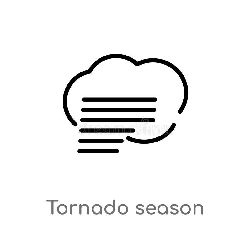 Entwurfstornadojahreszeit-Vektorikone lokalisiertes schwarzes einfaches Linienelementillustration vom Meteorologiekonzept Editabl lizenzfreie abbildung