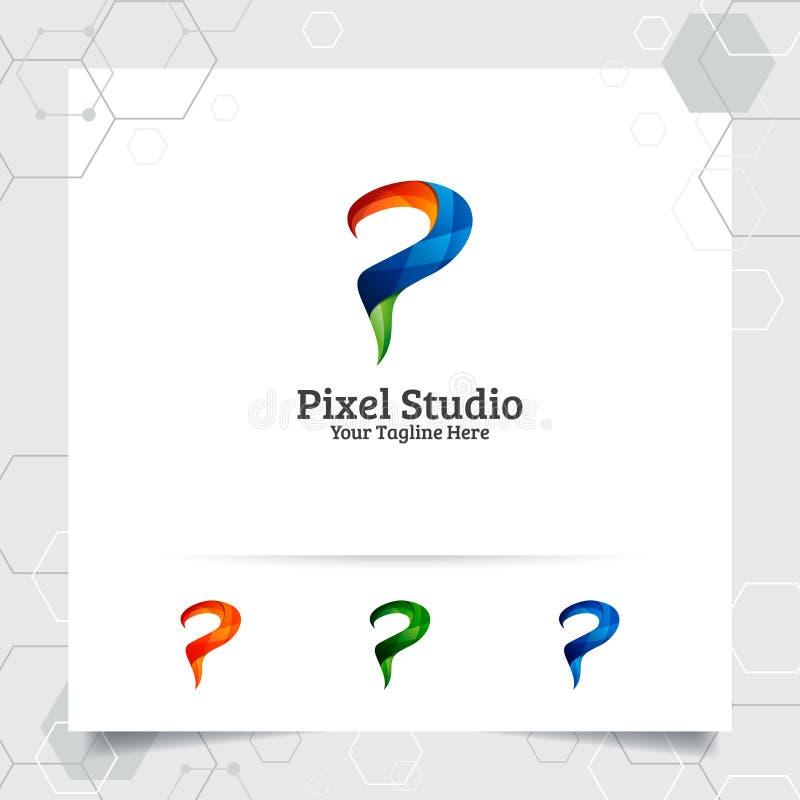 Entwurfsvektor des Digital-Logobuchstaben P mit modernem buntem Pixel f?r Technologie, Software, Studio, App und Gesch?ft lizenzfreie abbildung