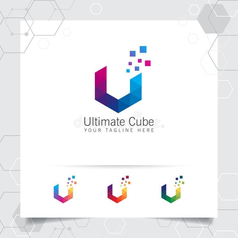 Entwurfsvektor des Digital-Logobuchstaben V mit moderner bunter Pixelikone für Technologie, Software, Studio, App und Geschäft stock abbildung