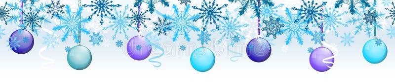 Entwurfsvektor-Grenzschablone des neuen Jahres auf hellem oder transparentem Hintergrund mit farbigen Bällen und Weihnachtsausläu stockfoto