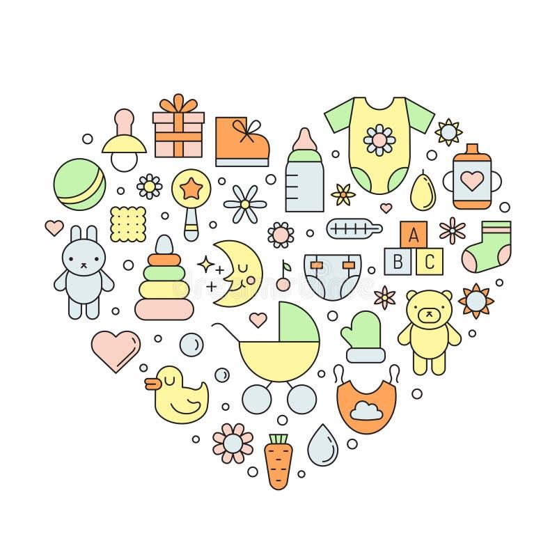 Entwurfsvektor-Herzhintergrund des Babys (Mädchen und Junge) netter lizenzfreie abbildung