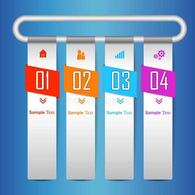 Entwurfsvektor- und -marketing-Ikonen Colorfull infographic moderne Geschäft infographics Schablone für Website, grafic Rot, Oran stock abbildung
