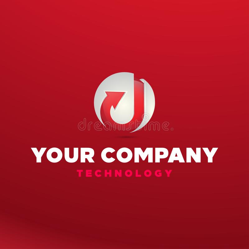 Entwurfsvektorikonen-Illustrationsinspiration des Logos 3D mit d-Buchstaben und -pfeil für Technologiefirma stock abbildung