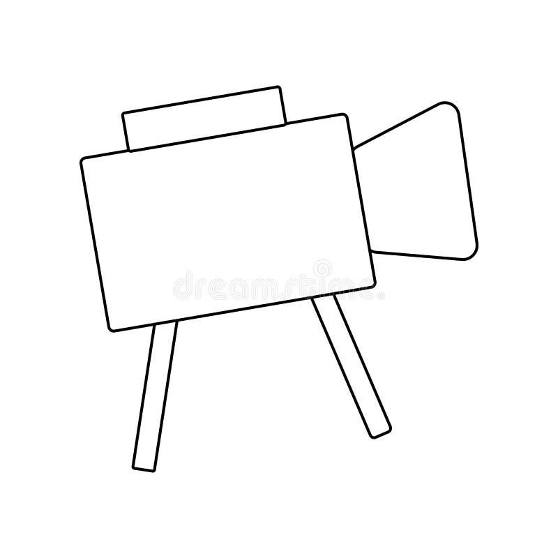 Entwurfsvideokamera Ikone Recordersymbol Netzknopf stock abbildung
