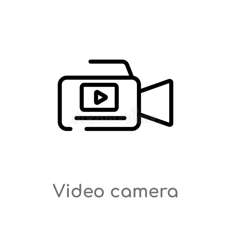 Entwurfsvideokamera-Vektorikone lokalisiertes schwarzes einfaches Linienelementillustration vom elektronischen Materialf?llekonze stock abbildung