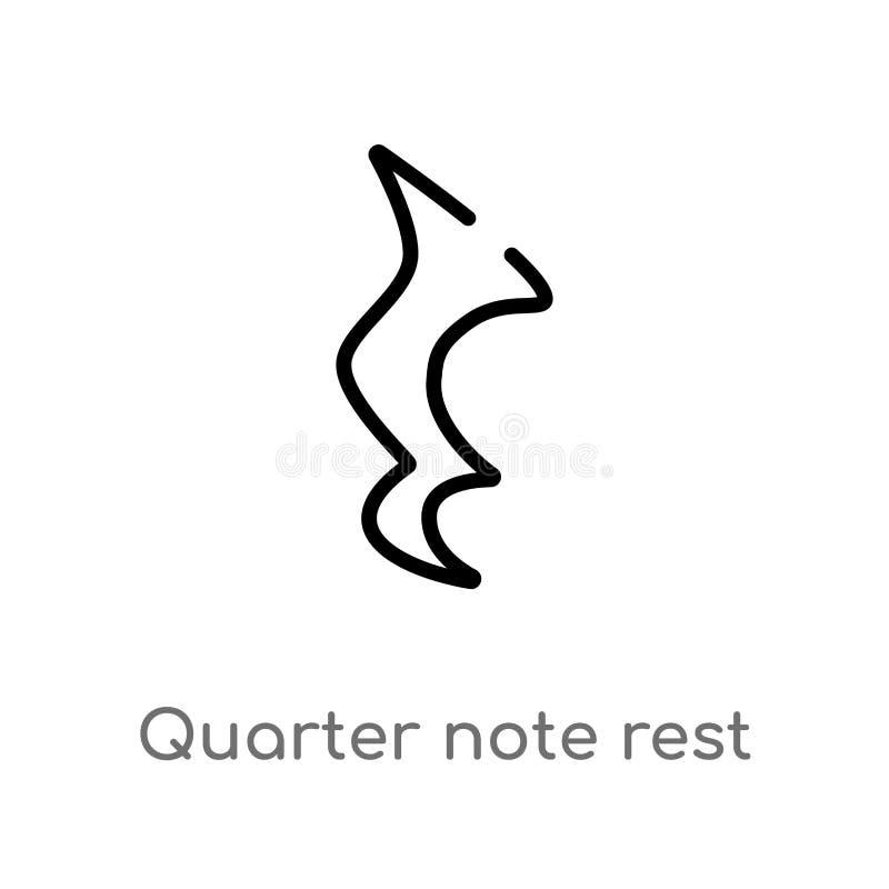 Entwurfsviertelanmerkungsrestvektorikone lokalisiertes schwarzes einfaches Linienelementillustration von der Musik und von der We stock abbildung