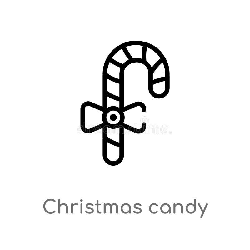 Entwurfsweihnachtssüßigkeit haftet Vektorikone lokalisiertes schwarzes einfaches Linienelementillustration vom Nahrungsmittelkonz lizenzfreie abbildung