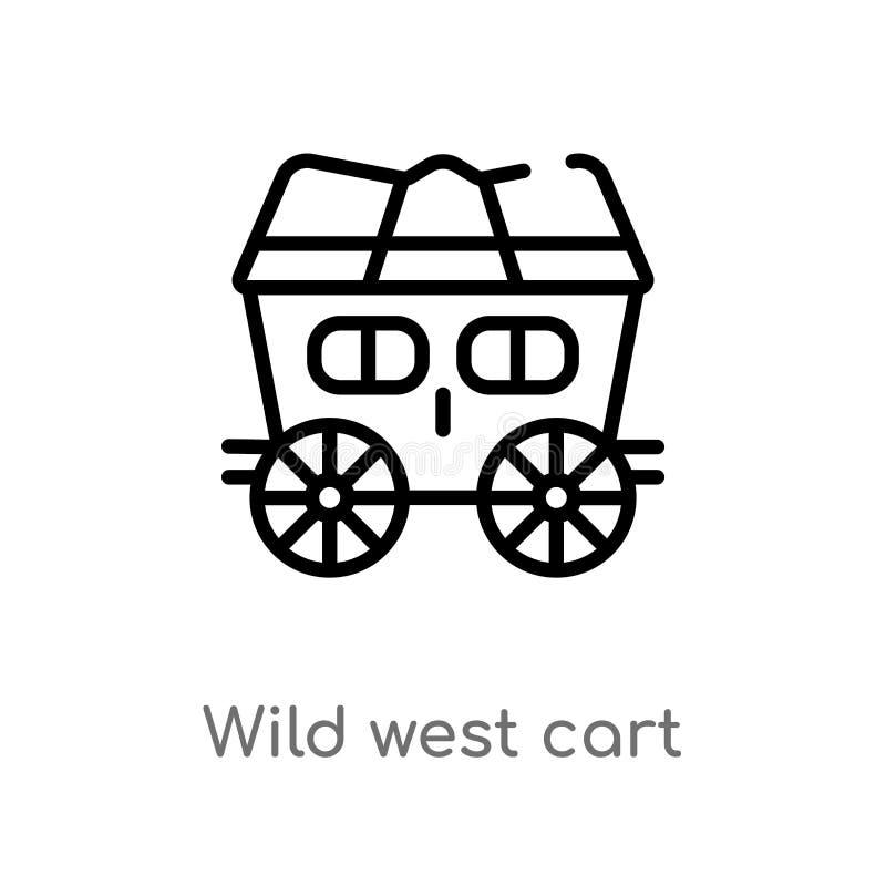 Entwurfswilde Westwagen-Vektorikone lokalisiertes schwarzes einfaches Linienelementillustration vom Wüstenkonzept Editable Vektor vektor abbildung