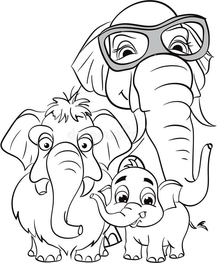 Entwurfszeichnung der Familie der Elefanten vektor abbildung