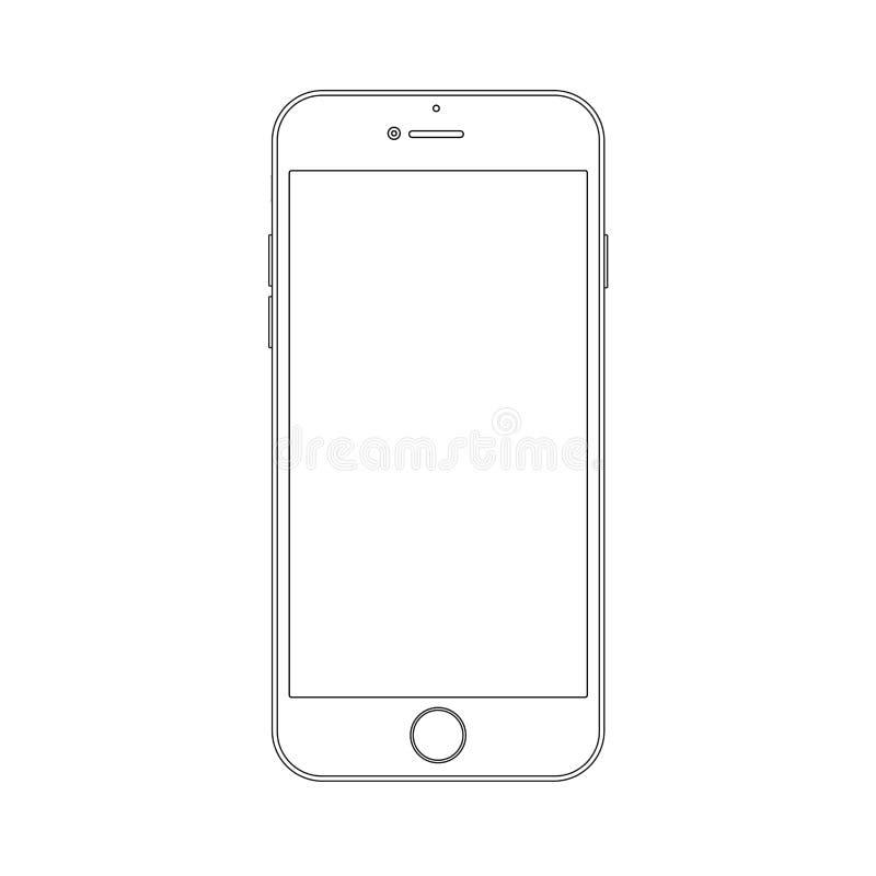 Entwurfszeichnung Smartphone Elegante dünne Linie Artdesign vektor abbildung
