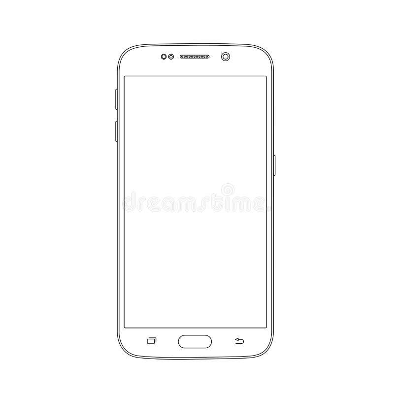 Entwurfszeichnung Smartphone Elegante dünne Linie Artdesign lizenzfreie abbildung