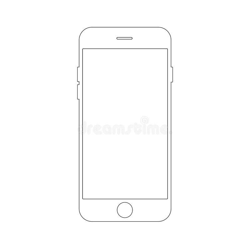 Entwurfszeichnung Smartphonekonzept Elegante dünne Linie Design lizenzfreie abbildung