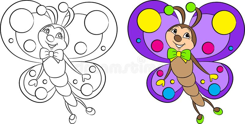 Entzückend vor und nach kawaii Zeichnen eines kleinen Schmetterlinges, schön gefärbt, für das Malbuch der Kinder oder Färbungsspi lizenzfreie abbildung