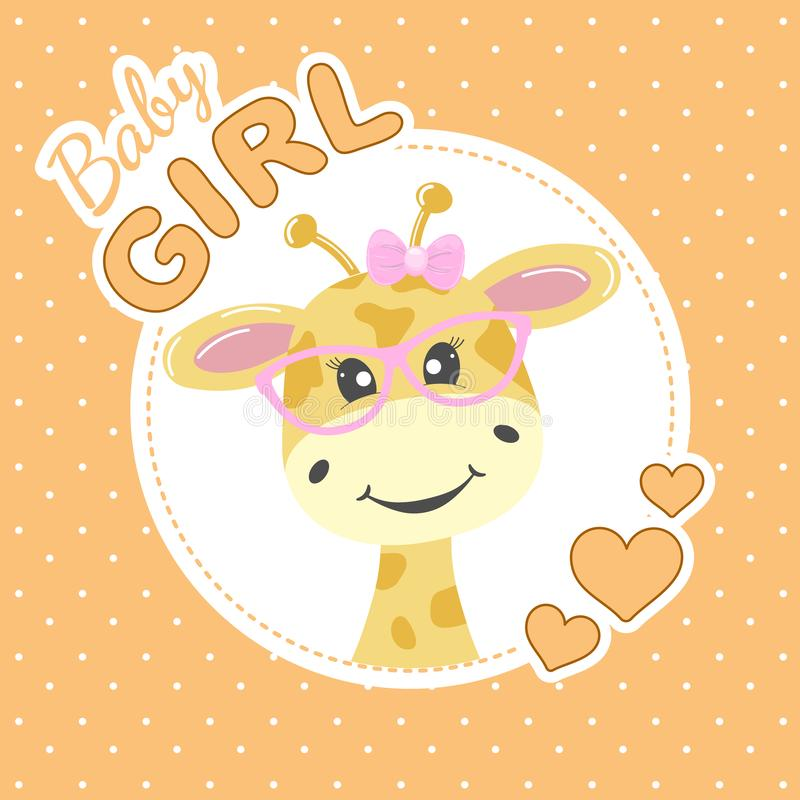 Entzückende Giraffe der Grußkarte in den Gläsern und in der Aufschriftbabyprinzessin stock abbildung