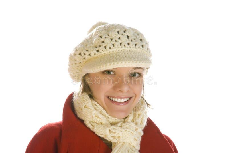 Entzückende junge Frau in einer Schutzkappe stockbilder
