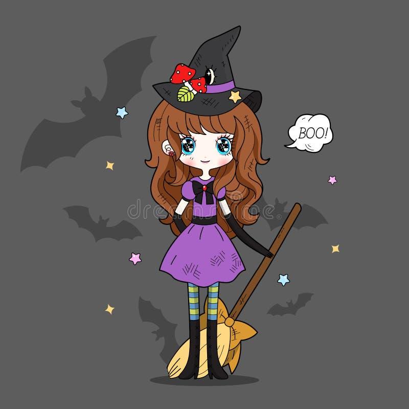 Entzückende kleine Hexe Halloween lizenzfreie abbildung