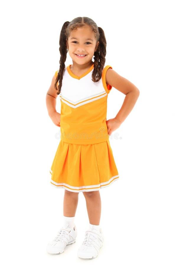 Entzückende Mädchen-Kind-Cheerleader in der Uniform stockbilder
