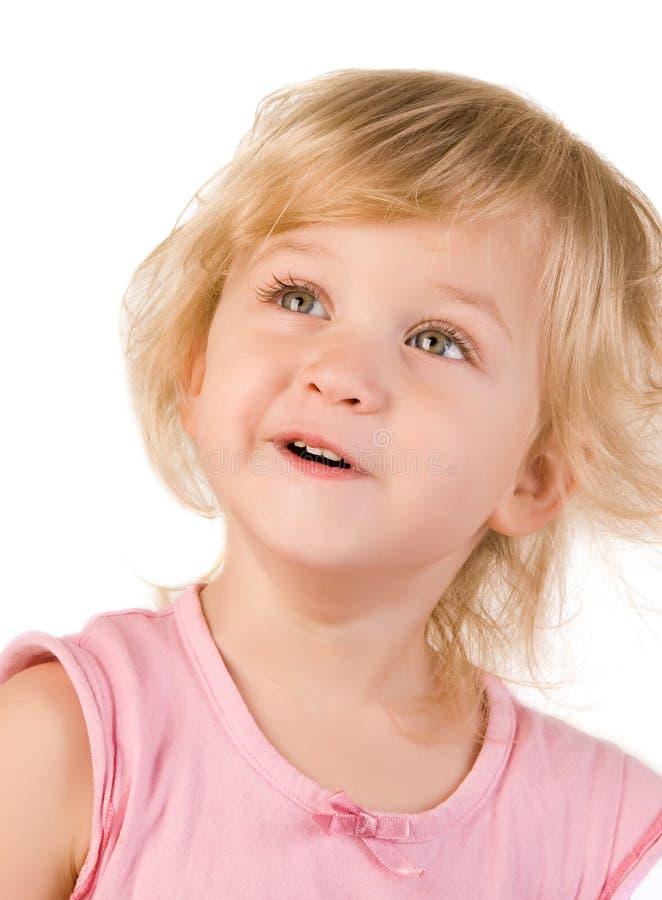Entzückende Nahaufnahme des kleinen Mädchens stockbilder