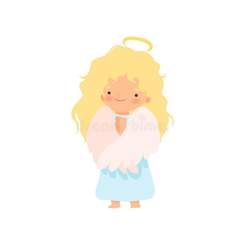 Entzückender blonder Mädchen-Engel mit Nimbus und Flügel, reizende Baby-Zeichentrickfilm-Figur im Amor oder Engel-Kostüm-Vektor lizenzfreie abbildung