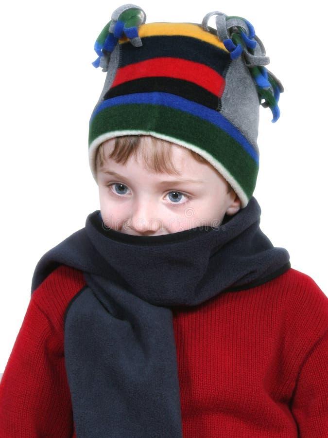 Entzückender Junge Im Winter-Hut Und In Der Roten Strickjacke Stockfotos