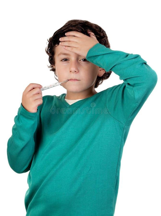 Entzückender Junge Whitthermometer lizenzfreies stockbild