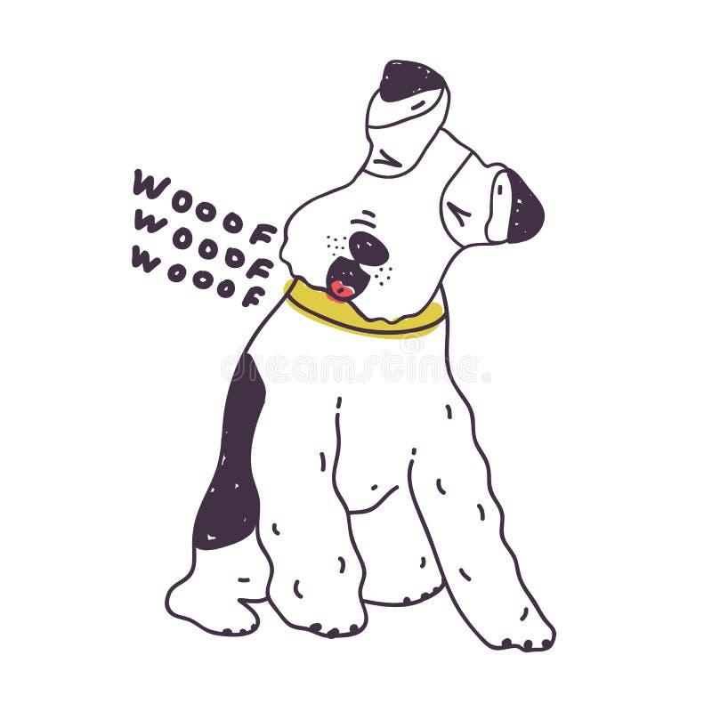 Entzückender laut bellender Hund Frecher Welpe Woofing oder böses Hündchen lokalisiert auf weißem Hintergrund Problem von lautem  lizenzfreie abbildung