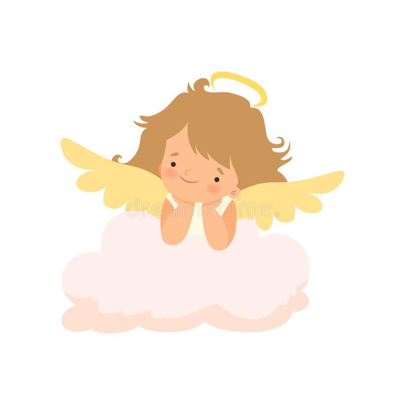 Entzückender Mädchen-Engel mit Nimbus und Flügel, nette Baby-Zeichentrickfilm-Figur im Amor oder Engel-Kostüm-Vektor-Illustration stock abbildung
