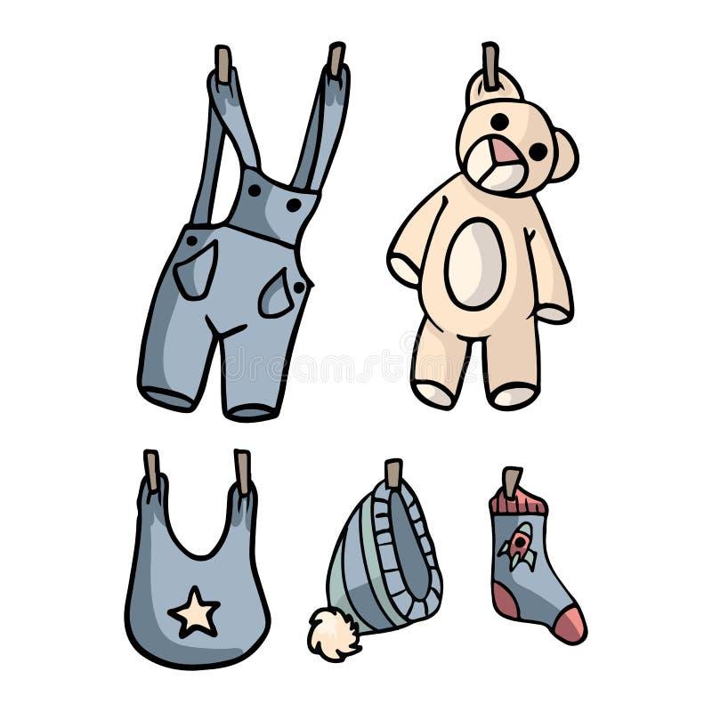 Entzückender neuer Baby-Illustrations-Sammlungs-Satz lizenzfreie abbildung