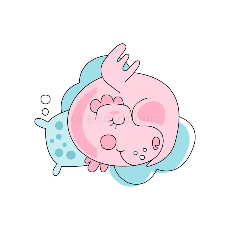 Entzückender rosa Drache, der mit Kissen auf blauer flaumiger Wolke schläft Fiktives Zeichen Flache Linie Kunst für Aufkleber, Ki vektor abbildung