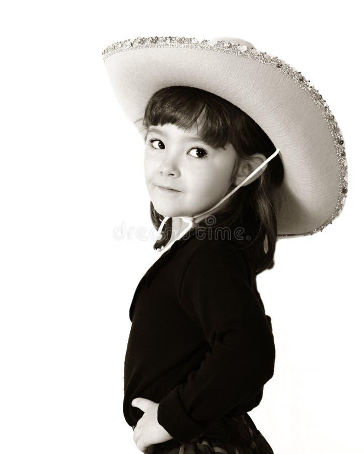 Entzückendes Cowgirl in Schwarzweiss. getrennt stockfotos