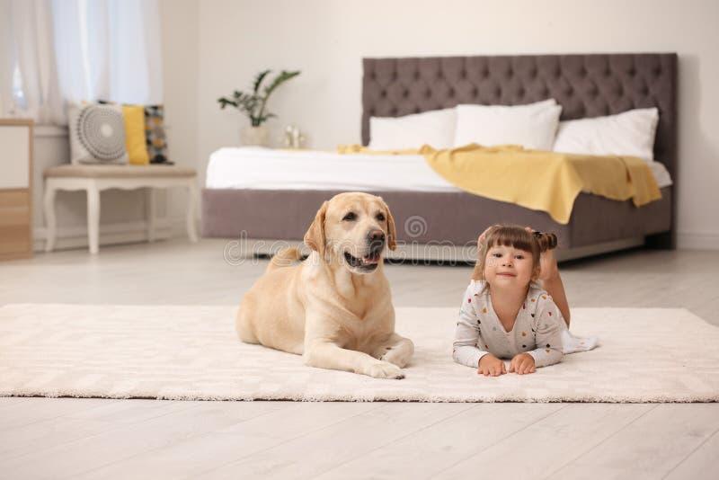 Entzückendes gelbes labrador retriever und kleines Mädchen stockfoto