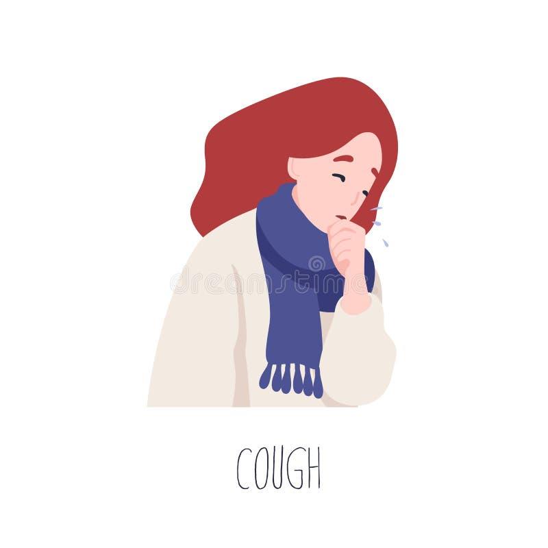 Entzückendes Husten der weiblichen Figur Symptom der Grippe, Gesundheitsproblem, Vireninfektionskrankheit Krankes oder krankes ju stock abbildung
