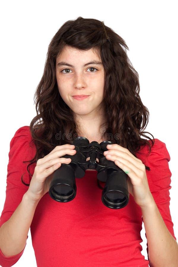 Entzückendes jugendlich Mädchen mit Binokeln lizenzfreies stockbild