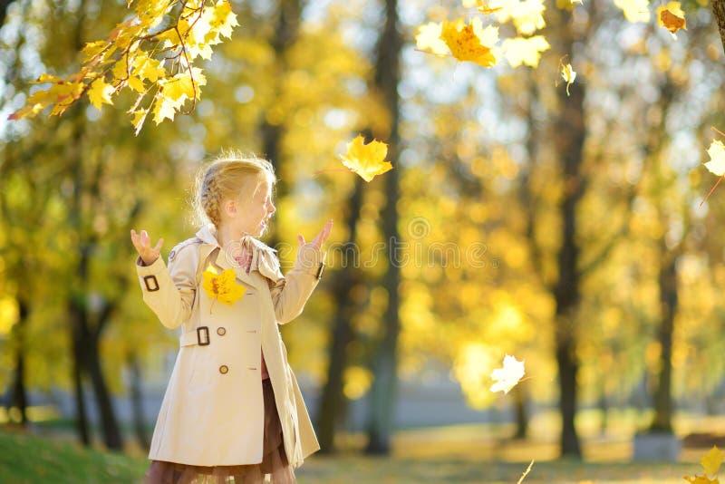Entzückendes junges Mädchen, das Spaß am schönen Herbsttag hat Gl?ckliches Kind, das im Herbstpark spielt Kind, das gelben Herbst stockbilder