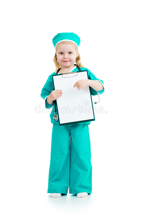 Kinderdoktor mit leerem Klemmbrett lizenzfreies stockbild