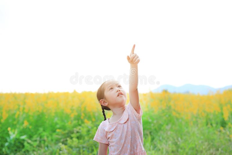 Entzückendes kleines asiatisches Kindermädchen, das frei mit dem Zeigen oben auf dem Sunnhanfgebiet glaubt Gelb blüht Hintergrund lizenzfreies stockfoto