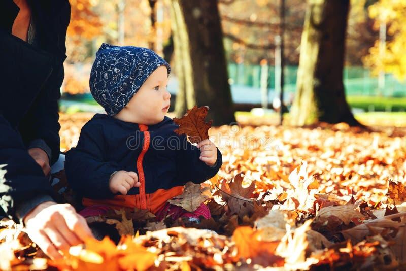 Entzückendes kleines Babykind im Herbstpark mit gelben Blättern lizenzfreie stockfotografie